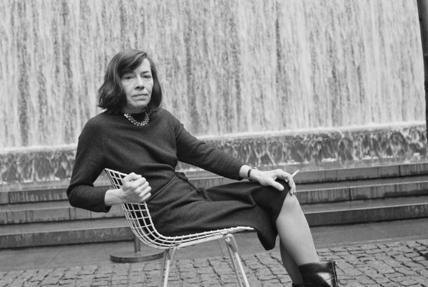 American Writer Patricia Highsmith in Front of Fountain