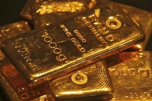 Gold bars are displayed at a gold jewellery shop in the northern Indian city of Chandigarh