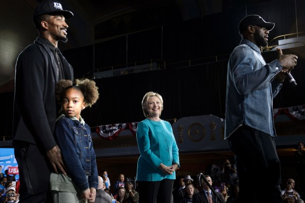 Image: Clinton at rally at the Cleveland Public Auditorium