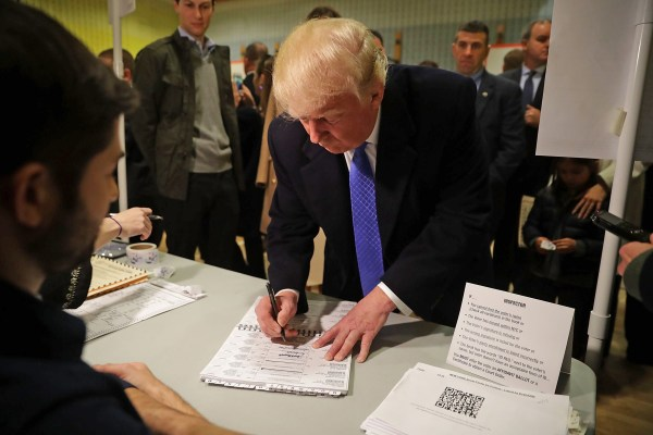 Image: GOP Nominee Donald Trump Casts His Vote In The 2016 Presidential Election