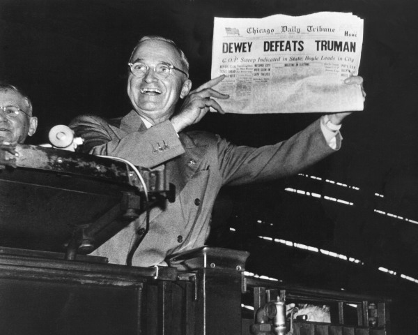 Image: Victorious Pres. Harry Truman jubilantly displaying he erroneous 1948 Chicago Daily Tribune headline.