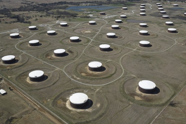 Image: Crude oil storage tanks are seen from above at the Cushing oil hub in Cushing