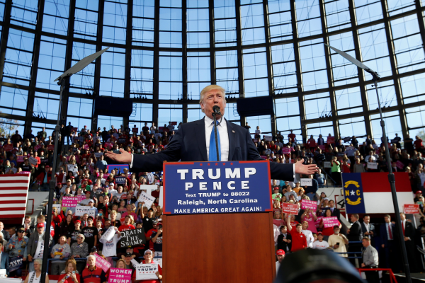 Image: Republican presidential nominee Donald Trump speaks during a campaign rally in Raleigh