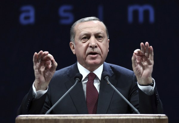 Image: Turkey's President addresses police officers in Ankara