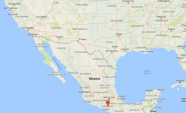 Image: A map showing Tixtla, Mexico