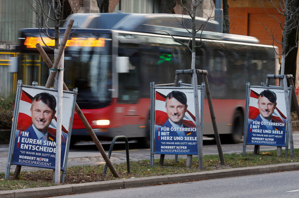 Image: Defaced election campaign posters of far-right FPOe candidate Norbert Hofer