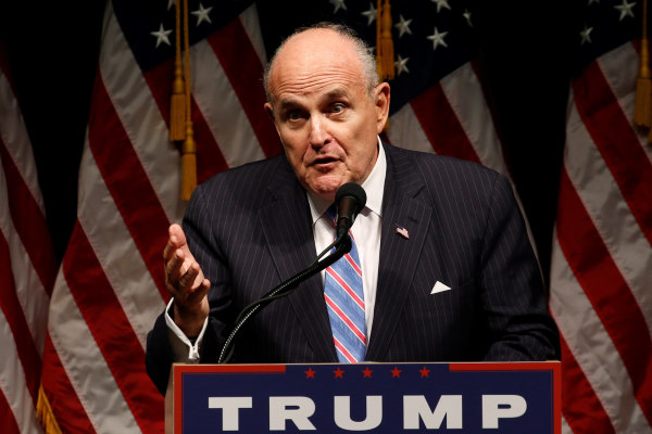 Image: Giuliani delivers remarks before Trump rallies with supporters in Council Bluffs, Iowa, U.S.
