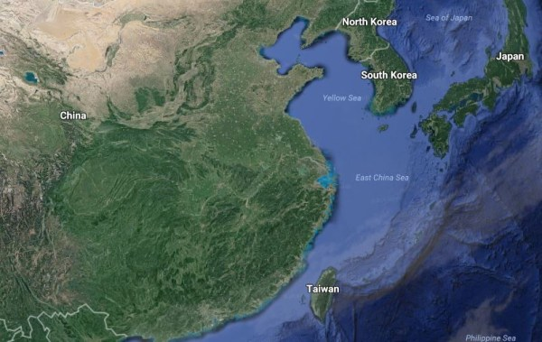 Image: A map showing China and Taiwan