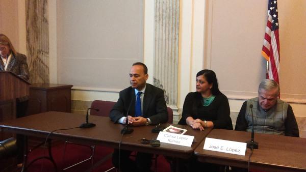 (from left) San Juan PR Mayor Carmen Yulin Cruz, Rep. Luis Gutierrez, Clarisa Lopez Ramos (Oscar's daughter), Jose Lopez Rivera, at the U.S. Senate, Washington, D.C. December 8, 2017