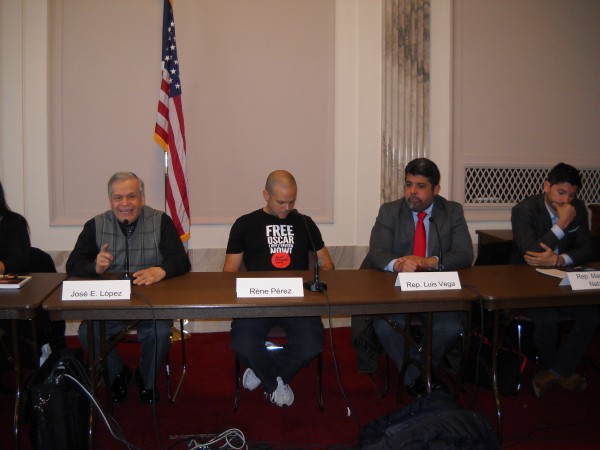 "(from left, Jose Lopez Rivera, rapper Rene ""Residente"" Perez, island legislators Luis Vega and Manuel Natal Albeo, at the U.S. Senate, Washington, D.C., December 8, 2016"