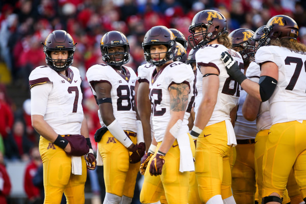 Image: The Minnesota Golden Gophers look to the sideline for instructions in the second quarter against the Wisconsin Badgers at Camp Randall Stadium on Nov.26, 2016 in Madison, Wisconsin.