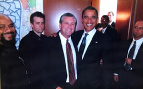 Image: Darin Maurer and then Presidential candidate Barack Obama