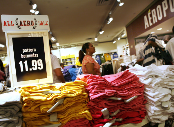 Image: Customers wait in line at an Aeropostale store in New York.