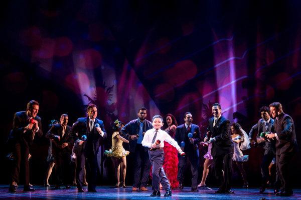 "Eduardo Hernandez dancing in ""ON YOUR FEET"" on Broadway."