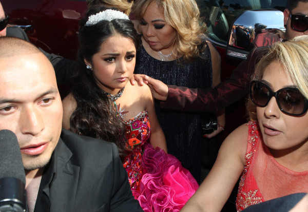 Image: Mexican teenager Rubi arrives to her 15th birthday party in La Joya, Mexico