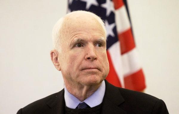 Image: Estonian President Juri Ratas and US Senator John McCain hold a joint press conference