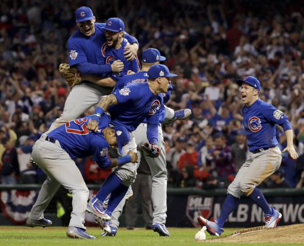 Image: Chicago Cubs celebrate after Game 7 of the World Series