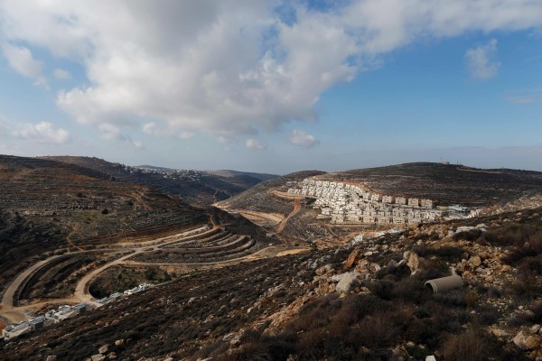 Image: A partial view of the Israeli settlement of Givat Zeev