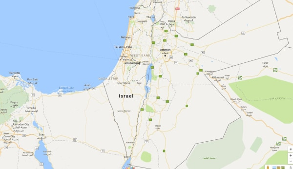 Image: Map showing Israel, the Gaza Strip and West Bank