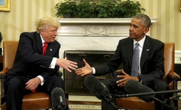 Image: U.S. President Barack Obama meets with President-elect Donald Trump in the Oval Office of the White House in Washington