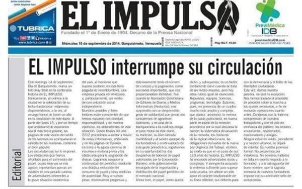 Image: Venezuela's oldest  newspaper El Impulso is shutting down.