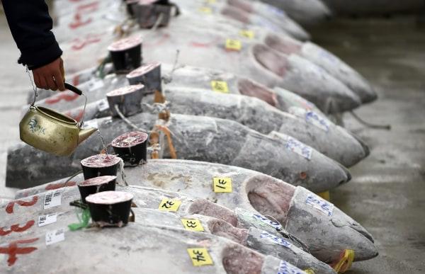 Image: First tuna auction of the year at Tsukiji fish market