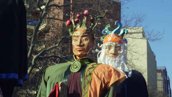 Papier Mache magi walk in the 40th annual Three Kings Day Parade organized by El Museo del Barrio.