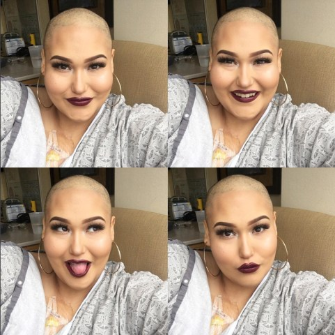Amanda Ramirez always applies makeup before every chemotherapy treatment at the Long Beach Memorial Medical Center.