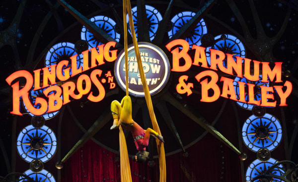 Image: A performer hangs upside down during a Ringling Bros. and Barnum & Bailey Circus performance