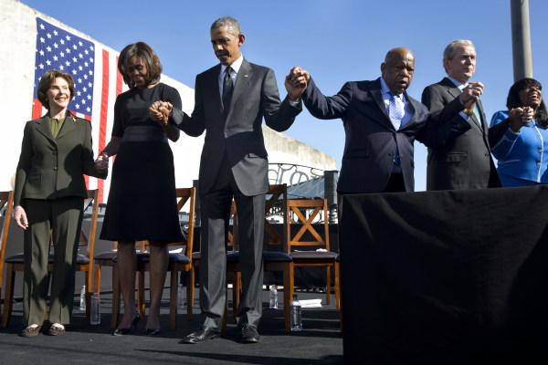 Barack Obama, Michelle Obama, Laura Bush, John Lewis, George W. Bush, Terri Sewell