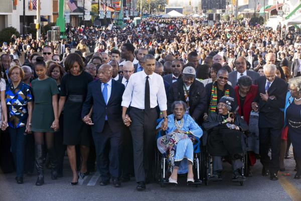 Image: Barack Obama and John Lewis on Edmund Pettus Bridge in Selma, Alabama