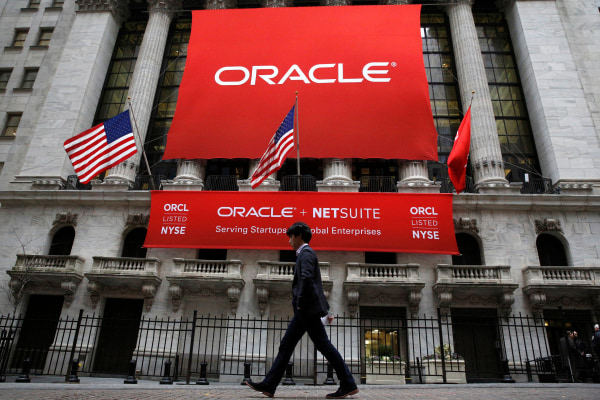 Image: An Oracle banner hangs outside the New York Stock Exchange (NYSE) in New York City