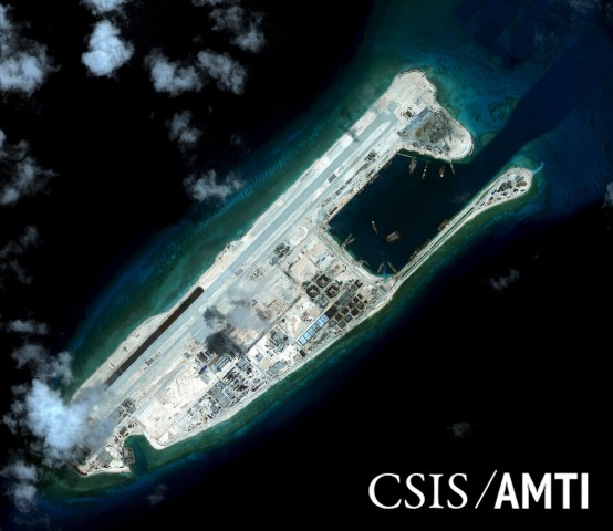 Image: Fiery Cross reef, located in the disputed Spratly Islands in the South China Sea