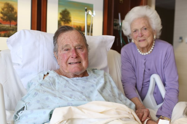 Image: An image posted to Twitter by Jim McGrath, spokesman for President George H. W. Bush and Barbara Bush, shows the couple smiling from Houston Methodist Hospital in Texas.