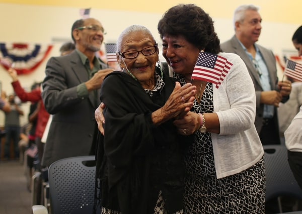 Image: *** BESTPIX *** 101 Year Old Among 141 To Be Naturalized At Ceremony In Miami
