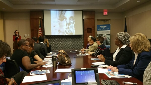Image: Flight attendants trainer gather for a two-day seminar held by Airline Ambassadors International in Houston, Texas.