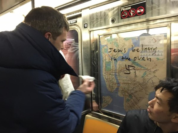Image: Nazi graffiti on a New York City Subway car