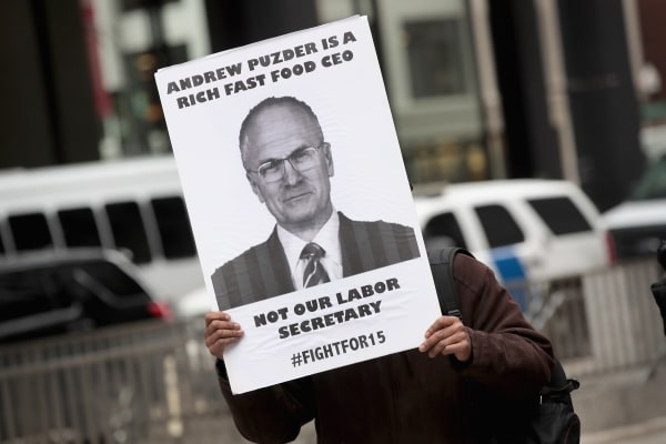 Image: Food workers protest Andy Puzder's labor secretary nomination