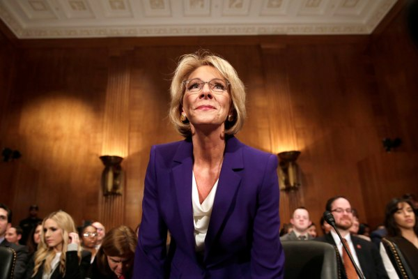 Image: Betsy DeVos arrives at the Senate Health, Education and Labor Committee confirmation hearing t