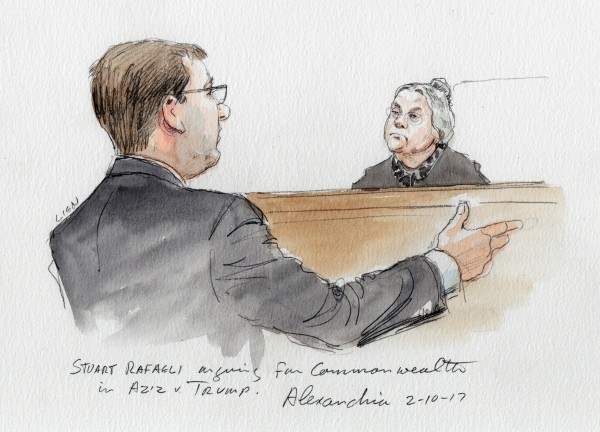 Image: Stuart Rafaeli argues on behalf of the Commonwealth before Judge Brinkema in Aziz v. Trump