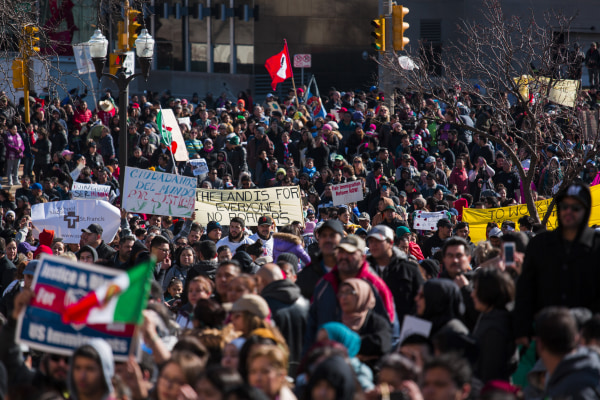 Image: Protestors March During Wisconsin's Day Without Latins, Immigrants, and Refugees