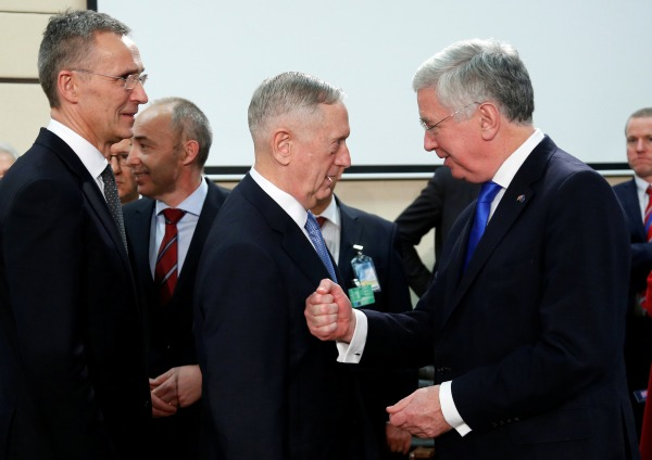 Image: NATO Secretary-General Stoltenberg, U.S. Defense Secretary Mattis and British Defence Secretary Fallon attend a NATO defence ministers meeting in Brussels