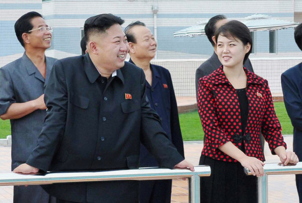 Image: North Korean leader Kim Jong-Un and his wife, who was named by the state broadcaster as Ri Sol-ju, visit the Rungna People's Pleasure Ground, in Pyongyang