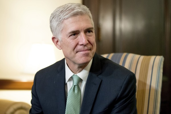 Image: Supreme Court Justice nominee Judge Neil Gorsuch is pictured on Capitol Hill in Washington, D.C., Feb. 14, 2017.