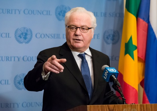 Image: Russia's Permanent Representative to the UN, Vitaly Churkin, speaks with the press following United Nations Security Council discussions at UN Headquarters in New York on Dec. 30, 2016.