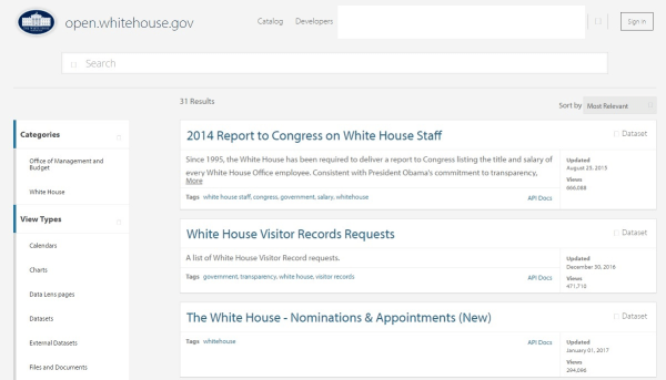 Image: White House Open Portal on Jan. 28, 2017