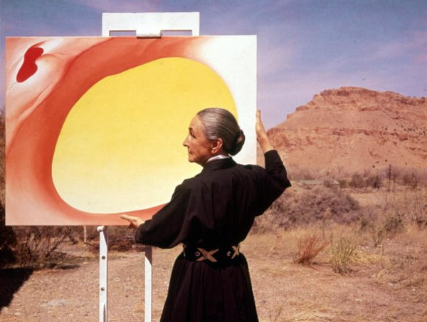 Georgia O'Keeffe With Painting In Desert, NM