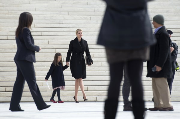 Image: Ivanka Trump, daughter of President Donald Trump, and her daughter Arabella Kushner walk down the steps of the Supreme Court in Washington, Feb. 22, 2017.