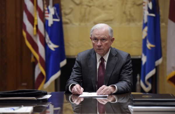 Image: Jeff Sessions at the Department of Justice in Washington