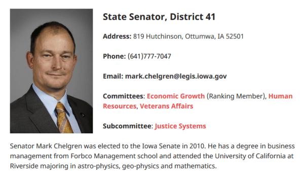 Image: Iowa Senator Mark Chelgren's biography on his Iowa Senate Republicans page